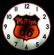 "Phillips 66 Gasoline Gas Vintage Advertising NEW Wall Clock 14"" Light Sign"