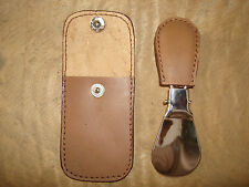 SHOE HORN WITH LEATHER POUCH/ POCKET SHOE HORN EASY TO CARRY  FOLD ABLE