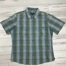 Hurley Mens Size Medium Plaid Short Sleeve Button Down Shirt Embroidered Logo