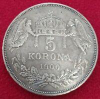 Moneda plata   Hungría 5 koronas 1900 calidad MBC