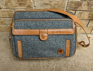 Vintage Hartmann Luggage Tweed and Leather Overnight Carry On Shoulder Bag GUC