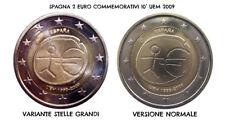 Variante / error 2 euro spagna 2009 grandi stelle / big stars FDC UNC