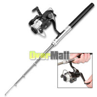 Mini Fishing Tackle Pocket Pen Kit Rod Pole and Spin Reel Combos Wheel Tool USA