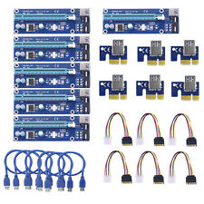 6X USB 3.0 PCI-E 1X-16X Extender Riser Karte Adapter Power Cable ETH BTC Mining