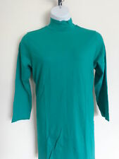 New Roaman's Cotton  L/S Mock Neck Maxi Tunic Top Plus Size M 14-16 W Emerald