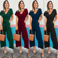 2019 Women Summer V neck Short Sleeve Casual Jumpsuit Maxi Evening Cocktail Prom