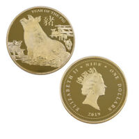 Happy New Year Souvenir Coin 24k 999.9 Gold Plated Year of The Pig Metal Coin