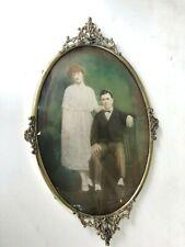 Lg. Antique Oval Gold Brass Ormolu Frame Convex Bubble Glass: Portrait of Couple