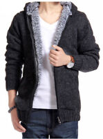 Men Winter Warm Fleece Lined Long Sleeve Knit Sweater Jumper Jacket Outwear Coat
