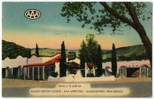 021821 ALAMO MOTOR COURT MOTEL ALAMOGORDO NM VINTAGE LINEN POSTCARD 1948