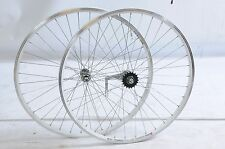700c 622x19 ALLOY WHEELS PEDAL BACK COASTER BRAKE REAR HUB HYBRID BIKE WHITE RIM