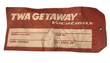 Vintage TWA Airlines Getaway Vacations Paper Luggage Tag Used Written