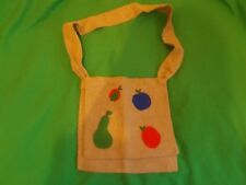 VINTAGE hand made iuta Hessiana Messenger Bag, ingenuo Frutta Decorazione 1970 S
