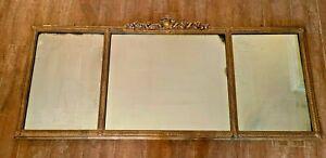 "56 x 25"" Vintage Mirror 3 sections Gold Hollywood Regency antique Gilt frame"