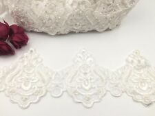 Bridal Lace Ivory Embroidered Pearl Trim Ribbon Wedding dress Edging