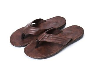 Men's Summer Clip Toe Beach Leather Casual Sandals Thong Slippers Flat Shoes