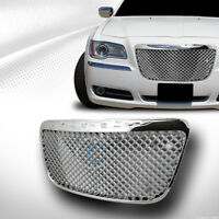 Fit 11-14 Chrysler 300 300C Chrome Mesh Front Hood Bumper Grill Grille Guard ABS