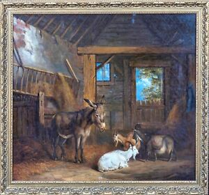 Large 19th Century Donkey & Goats Barn Interior Farm Edgar HUNT (1876-1953)