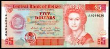 Belize. Five Dollars, AA044036. 1-5-1990, Almost Uncirculated-Uncirculated.