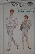 Vogue 7140 Sewing Pattern Misses' Sweep A-line Top Skirt Pants Sizes 6 8 10 UC