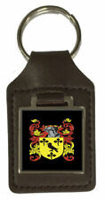 Poulton Family Crest Surname Coat Of Arms Brown Leather Keyring Engraved