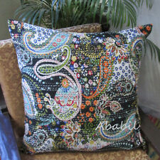 "Large 24X24"" Indian Black Pillow Cushion Cover Bohemian Floral Kantha Stitch Art"