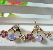 Gold Plated Elegant Stud Flower Earrings Ear Jacket Purple Wrap around Ear Lobe