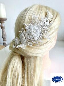 Spitze Ivory Haarschmuck Brautschmuck Haarkamm Haardraht Blumenschmuck Hochzeit