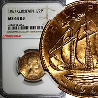 GREAT BRITAIN Elizabeth II 1967 1/2 Penny NGC MS63 RD FULL RED TONING KM# 896