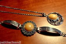 2 Piece NECKLACE BRACELET Set Boho Indie Butterscotch Antiqued Silver Jewelry