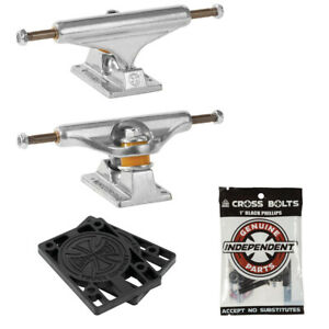 "Independent Skateboard Trucks Stage 11 Silver 149 (8.5"") + Indy Hardware, Risers"