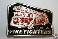 Vintage 1970s USA Fire Truck Fire Engine Thick Heavy Belt Buckle Fire Fighters