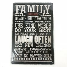 Religious Home Decor Family Rules Inspirational Saying Metal Tin Wall Sign 2019