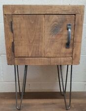 NEW SOLID WOOD BEDSIDE TABLE ON HAIRPIN LEG CUBE BEDSIDE CABINET *ANY SIZE