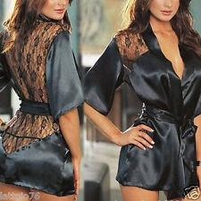 Vestaglia donna notte nero camicia pizzo sexy lingerie kimono perizoma DS266