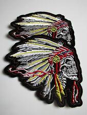 Set 2x Indianer Skull Schädel Totenkopf besticktes Biker Patch Kutte Bügelbilder