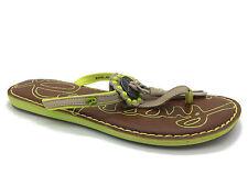 "Women's Flat (less than 0.5"") Composition Leather Flip Flops Shoes"