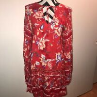 Jaase M RED Floral Boho Festival Mini Dress Medium