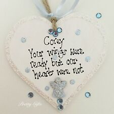 Personalised Bereavement Angel Plaque Your Wings Were Ready But My Heart Was Not