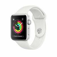 NEW Apple Watch Series 3 GPS 38MM Silver Aluminum Case White Sport Band MTEY2LLA