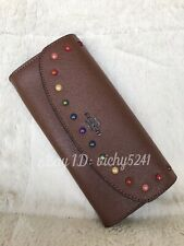 Coach F31568 Leather Slim Envelop Wallet With Rainbow Rivets in Dark Saddle
