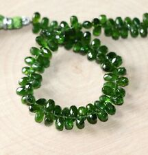 Chrome Diopside faceted drop briolette- 6-7mm- 8 briolette
