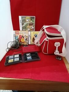 Nintendo DS lite in red bundle with 9 games charger and carry case