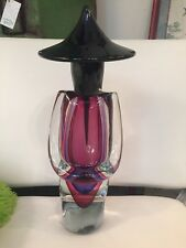 Vintage Murano Glass  signed Gino Onesta Black Purple large sculpture Asian 15 ""