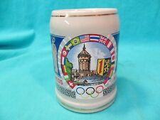 Nco & Em Open Mess Olympics Mannheim German Stoneware Beer Stein 0.5L Repaired
