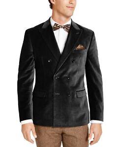 Bar III Men's Black Slim-Fit Velvet Double-Breasted Sport Coat 36S
