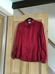 Pure Collection 100% Silk Blouse Ruby Red Size 14- Never Been Worn