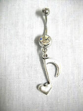 MUSICAL HEART SHAPED MUSIC NOTE DANGLING CHARM ON 14G CLEAR CZ NAVEL BELLY RING