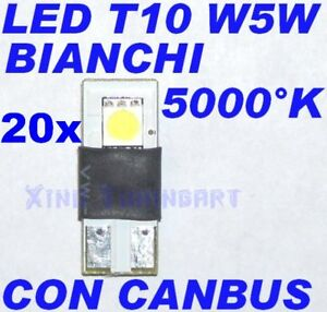 20 LED Lights Canbus White T10 W5W Resistances Error Free