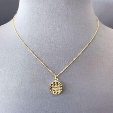 Mini Circle Shape Pendant Necklace Gold Finish Clear Rhinestone Filigree Design